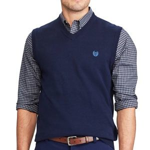 Chaps Cotton Sweater Vest - Newport Navy